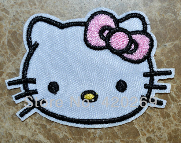 Free shipping!!! ~ Cute Hello Kitty Pink butterfly iron on patches,applique,wholesale,Fabric cloth,Brand New(China (Mainland))