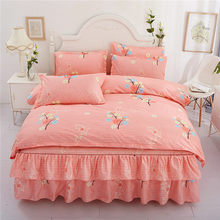 Romantic Printing Bedding Sets 4pcs Family Set Bed Sheet Duvet Cover Pillowcase Bedroom Decoration Flower Printed Bedspread(China)