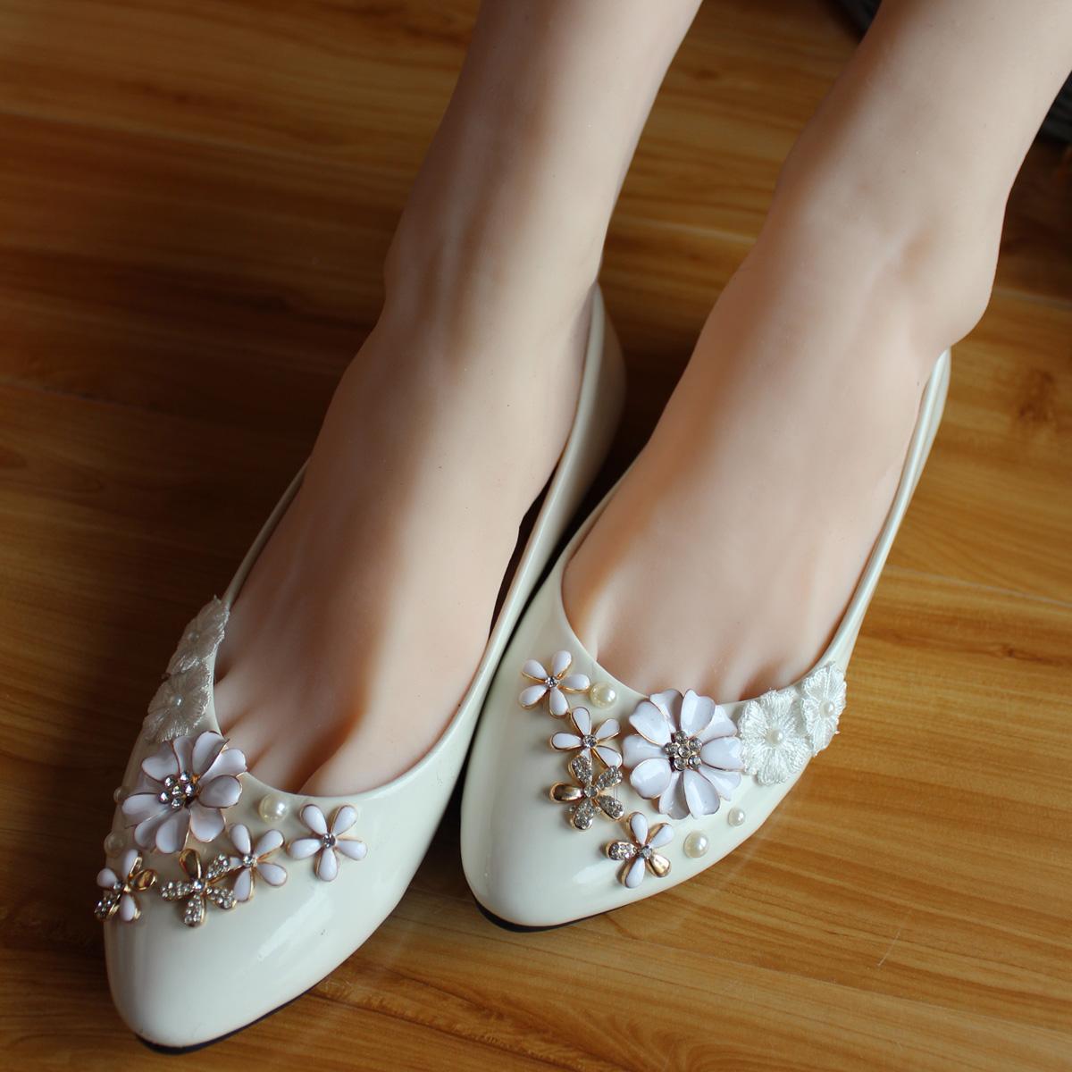 Handmade White Pearl Princess Wedding Shoes Rhinestone Flat Heel Womens Bridal Shoe InWomens