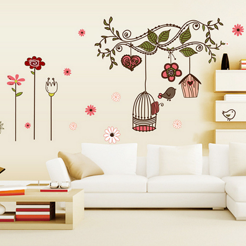 Attractive Bird Cage Vintage Wall Sticker Home Art Decor Fashion Wall Stickers Living Room Decals,Free shipping JE24(China (Mainland))