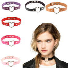 Women Lady Punk Goth Harajuku Grunge Leather Rivet Heart Collar Choker Statement Necklace Jewelry 14 Color