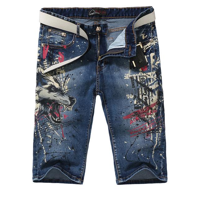 Мужская мода тонкий волк печати джинсы Мужские случайные колен стрейч джинсовые шорты