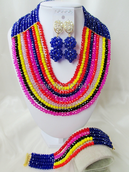 The beauty of Nigeria, USA, Europe, Africa, wedding jewelry, crystal necklace, bracelet and Earrings Set T-553333<br><br>Aliexpress