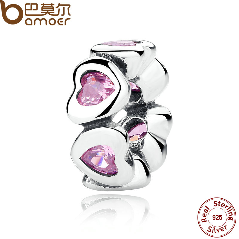 BAMOER REAL 925 Sterling Silver FANCY PINK SPARKLING HEARTS SPACER CHARM Fit Charms Bracelet Women Fine Jewelry PAS303