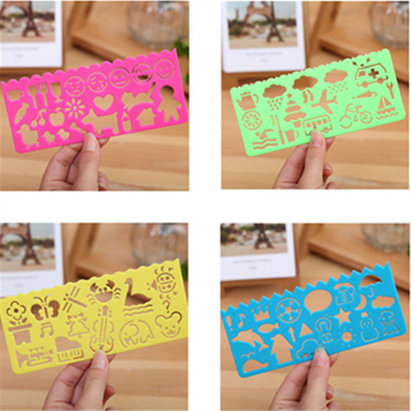 8 pcs/lot Creative children cartoon drawing ruler painting templates ruler students Hollow Straightedge stationery  wholesale<br><br>Aliexpress