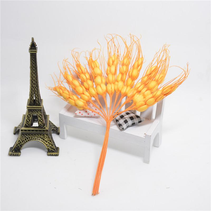 10pcs 17cm Foam Autumn Wheat Artificial Flower Bouquet For Wedding Decoration DIY Scrapbooking Decorative Wreath Fake