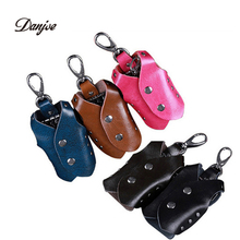 DANJUE New arrival leather car key holder designer car key wallet unisex leather key finder casual solid key ring(China (Mainland))