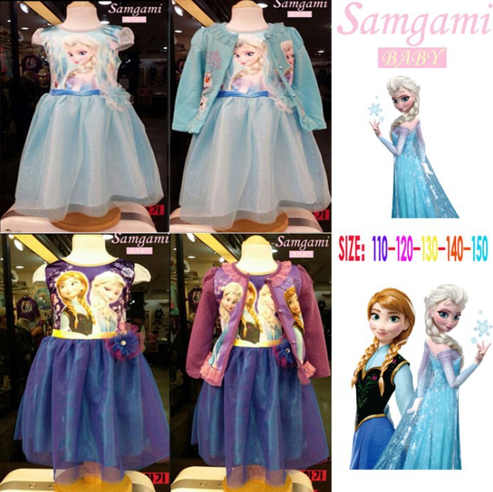 HOT sale NEW 2015 fashion Anna Elsa princess dress girl short sleeve dresses and coat casual set cute party dress girls clothing<br><br>Aliexpress