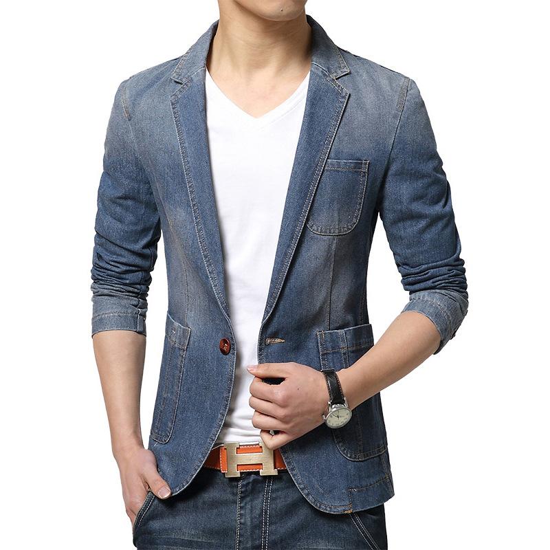 jeans blazer men casual jacket manteau homme herren sakko slim fit. Black Bedroom Furniture Sets. Home Design Ideas