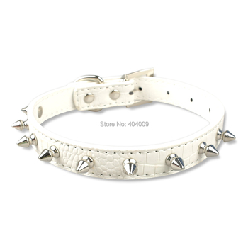 4 Sizes White Spiked Studded Gator Leather Pet Dog Cat Puppy Collars