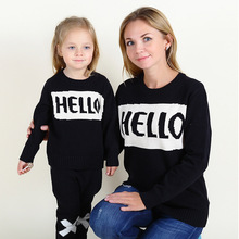 Retail  New 2016 autumn winter  Hot Children Long sleeve lettres HELLO print Mother hoody  Parent-child outfit(China (Mainland))