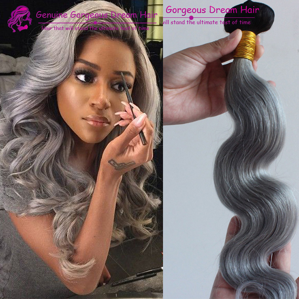 7A Silver Grey Ombre Human Hair Extensions 3Pcs/lot 1b/Grey body wave human Hair waving Two Tone Ombre Virgin Hair Grey Weave<br><br>Aliexpress