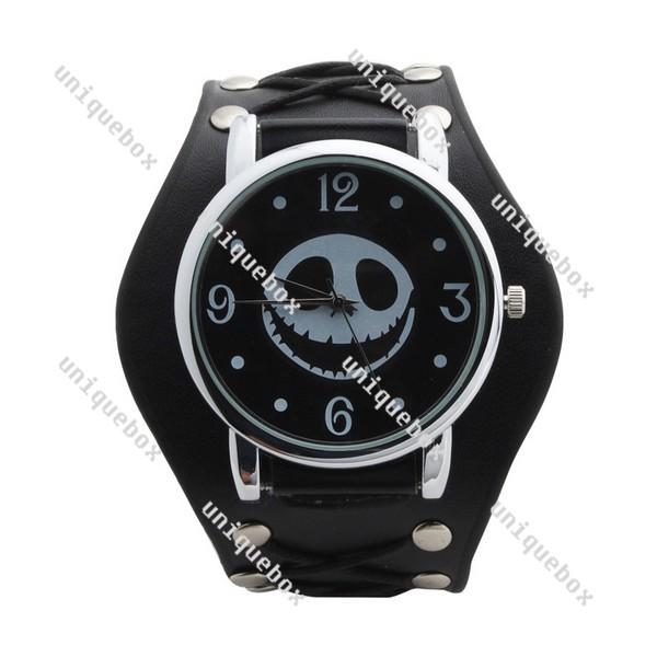 Hot Punk Jacky Style Pirate Skull Head Band Wrist Rivet Analog Watch 030486(China (Mainland))