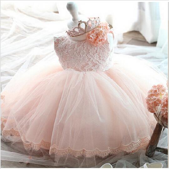 Elegant Girl Dress Girls 2017 Summer Fashion Pink Lace Big Bow Party Tulle Flower Princess Wedding Dresses Baby Girl dress(China (Mainland))