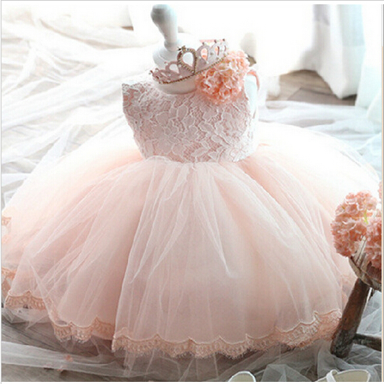 Elegant Girl Dress Girls 2017 Summer Fashion Pink Lace Big Bow Party Tulle Flower Princess Wedding Dresses Baby Girl dress(China (Mainland))