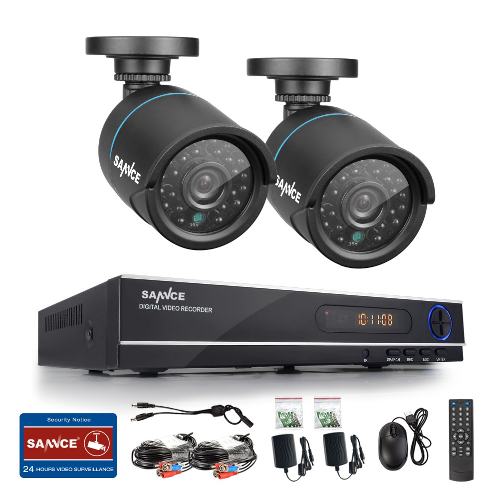 Hotting SANNCE 720P Home Security CCTV System HD 1080N 8CH DVR 2PCS 1.0MP AHD CCTV Camera Video Surveillance Kit Remote View(China (Mainland))