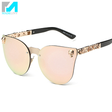 Super Popular Fashion Gothic Cat Eye Sunglasses Women Reflective Stereo Flowers Decoration Coating Mirror De Sol MA253(China (Mainland))