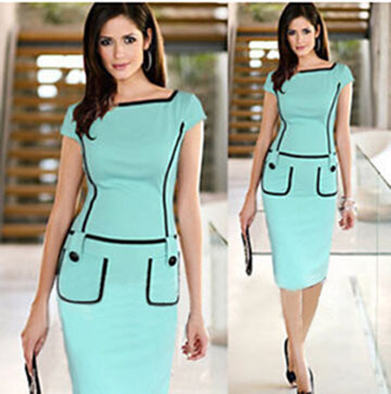 Hot selling solid color women's one-piece dress formal dress mosaic lines slim pencil dress one-piece dress(China (Mainland))