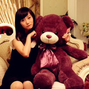 plush giant toy pink and purple teddy bear Highquality gift for girls and children(China (Mainland))