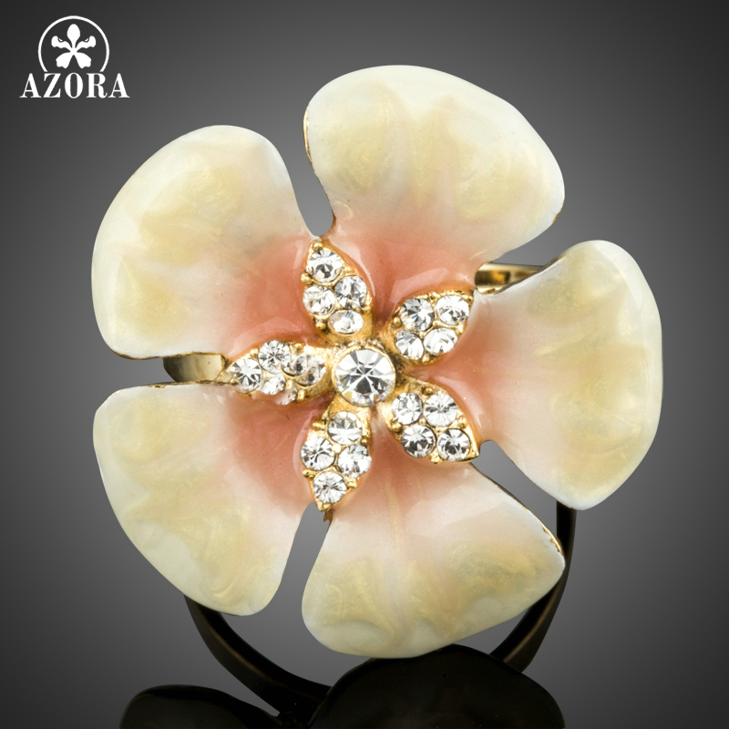 AZORA Unique Design Romantic Light Yellow Fllower Handmade Oil Painting Crystal Adjustable Finger Rings TR0176(China (Mainland))