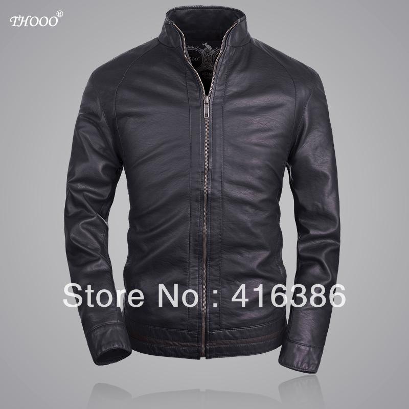 THOOO brandS new Brand HOT black GENTLEMEN'S pu Faux leather classic Motorcycle jacket Coat SZIE M L XL 2XL 3XL 4XL 5XL - STYLE store
