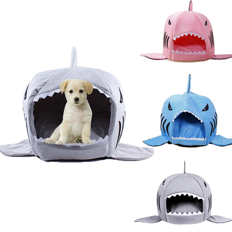2016 2 Size Pet Products Warm Soft Dog House Pet Sleeping Bag Shark Dog Kennel Cat Bed Cat House(China (Mainland))