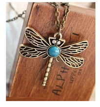 x5  Hot Sale New Fashion Vintage Gold necklace Hollow Dragonfly Pendants Necklaces Jewelry Accessories Wholesales free shipping(China (Mainland))