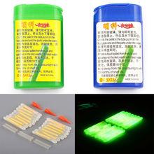 15PCS Mini Fishing Fish Fluorescent Lightstick Night Float Dark Glow Stick Box