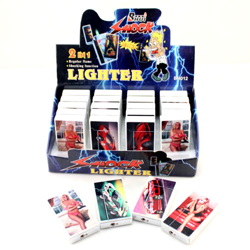 Birthday gift shock toys flip metal electric lighter(China (Mainland))