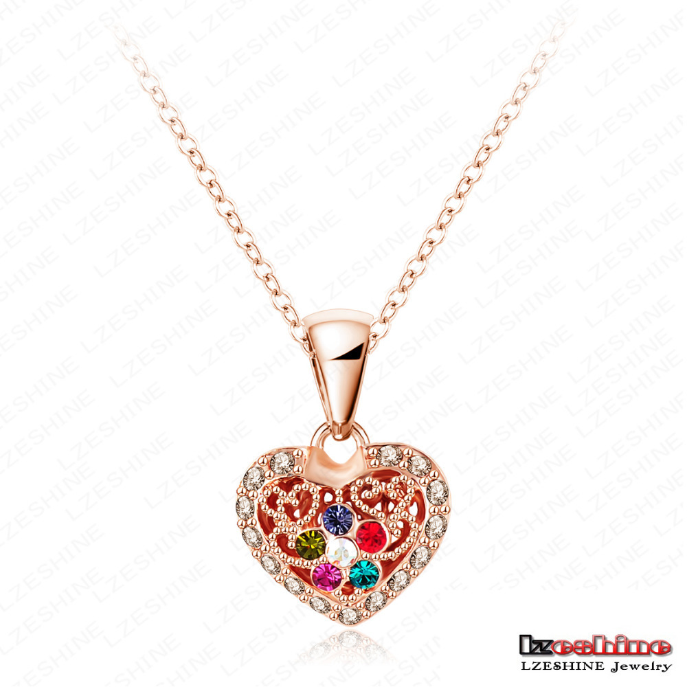 Women Accessories Necklace Real 18K Rose Gold Plated Colorful Crystal Heart Pendant Sweater Necklace NL0286-A(China (Mainland))