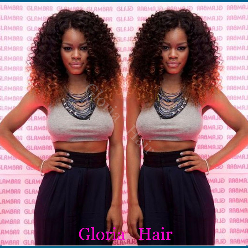 Afro kinky curly Lace front synthetic wig Ombre Two Tone synthetic wig #1B to #30 African American Synthetic Wigs(China (Mainland))