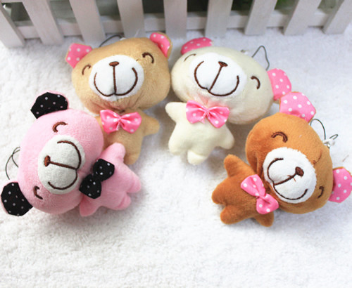 wholesale 10CM 4Inch Plush Stuffed Soft MiNi Teddy Bear Toy Doll, bouquet packing material, bag, mobile phone pendant chain<br><br>Aliexpress