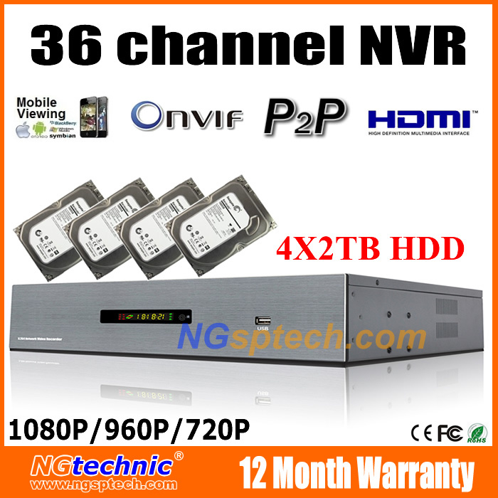 Free shipping 8TB HDD Including Onvif 36CH 1080P professional NVR HDMI P2P cloud Hisilicon HI3535 chip<br><br>Aliexpress