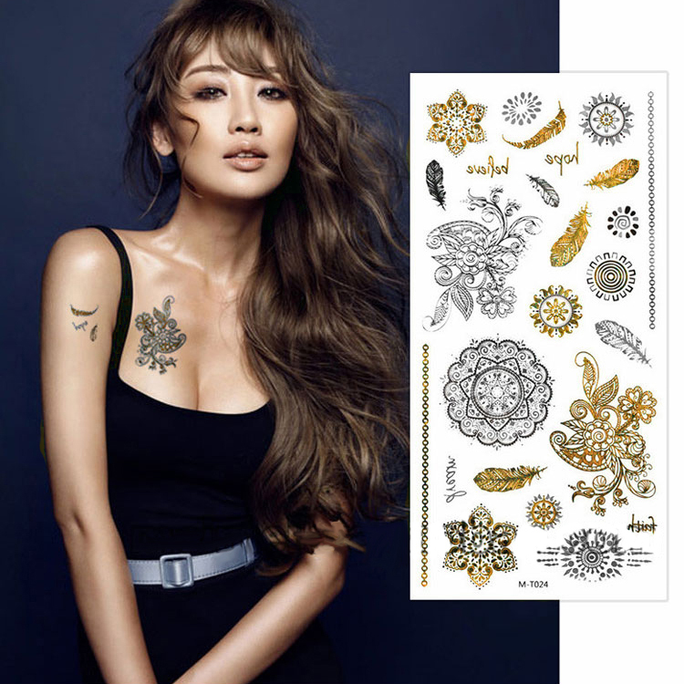 Styles Tattoo Stickers Stencils For Cosmetic Body Sleeve Hand Art Temporary Cool Glitter Metal Golden Tattoos