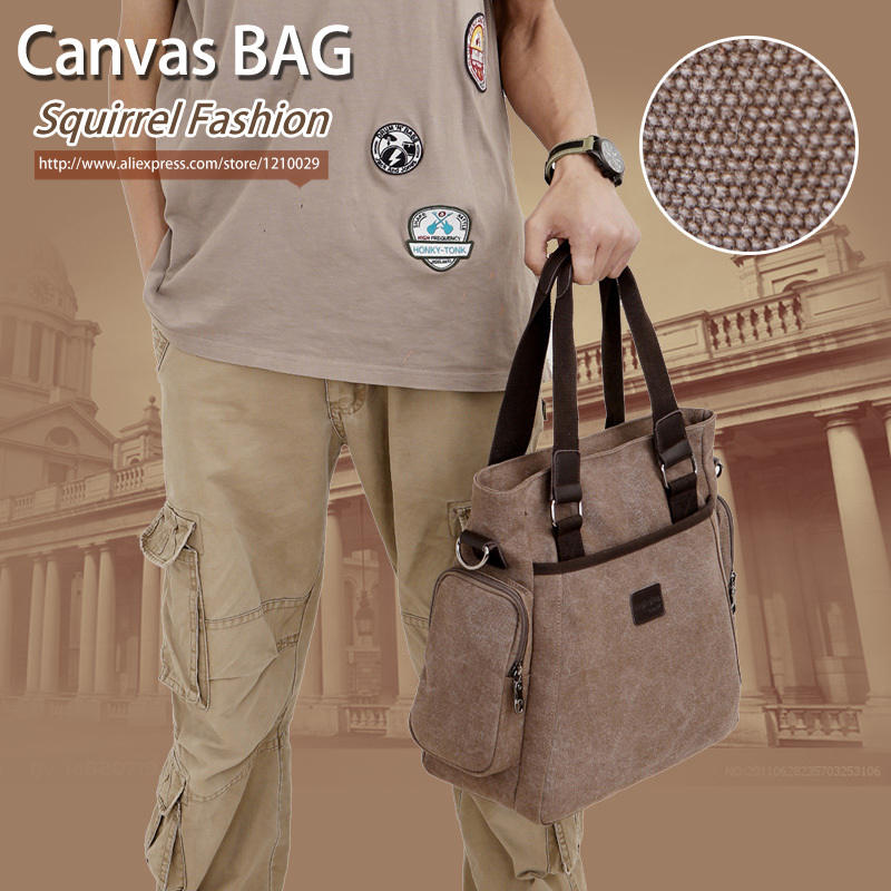 Squirrel fashion canvas solid dress crossbody mens shoulder bag business messenger bags vintage casual tote boy knapsacks<br><br>Aliexpress