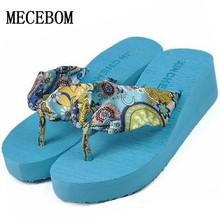 2016 Summer bohemia flower Women flip flops platform wedges women sandals platform flip slippers beach shoes