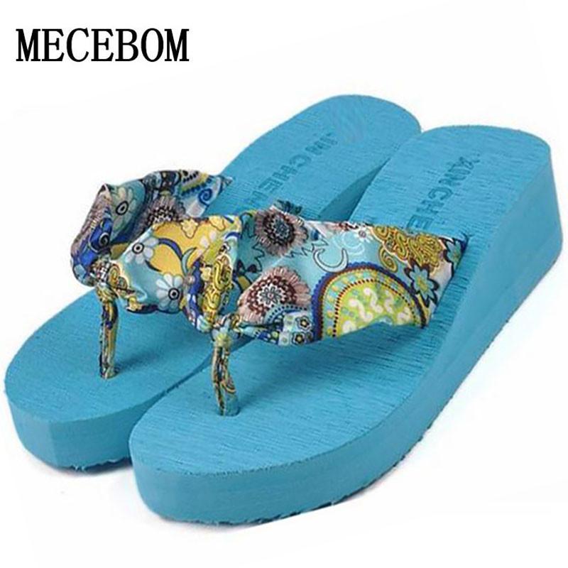 2016 Summer bohemia flower Women flip flops platform wedges women sandals platform flip slippers beach shoes(China (Mainland))