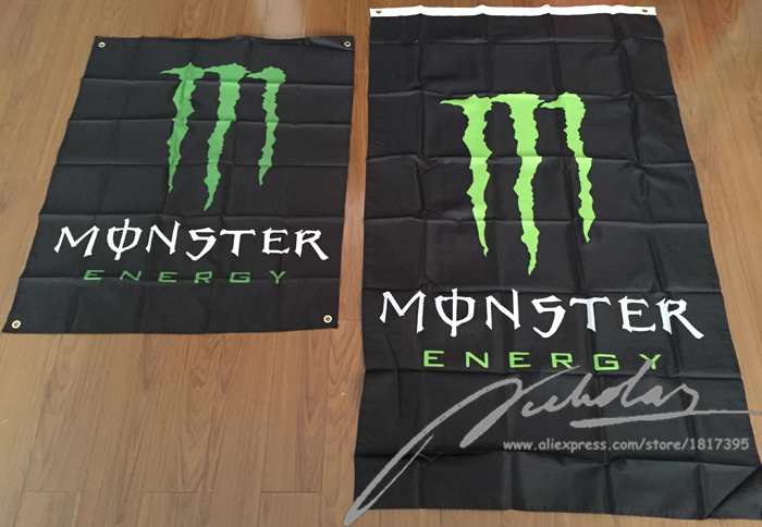Monster Energy Flag 90x150cm & 80x100cm Hanging Polyester Custom Flags and Banners with Grommets American Flag Home Decor(China (Mainland))