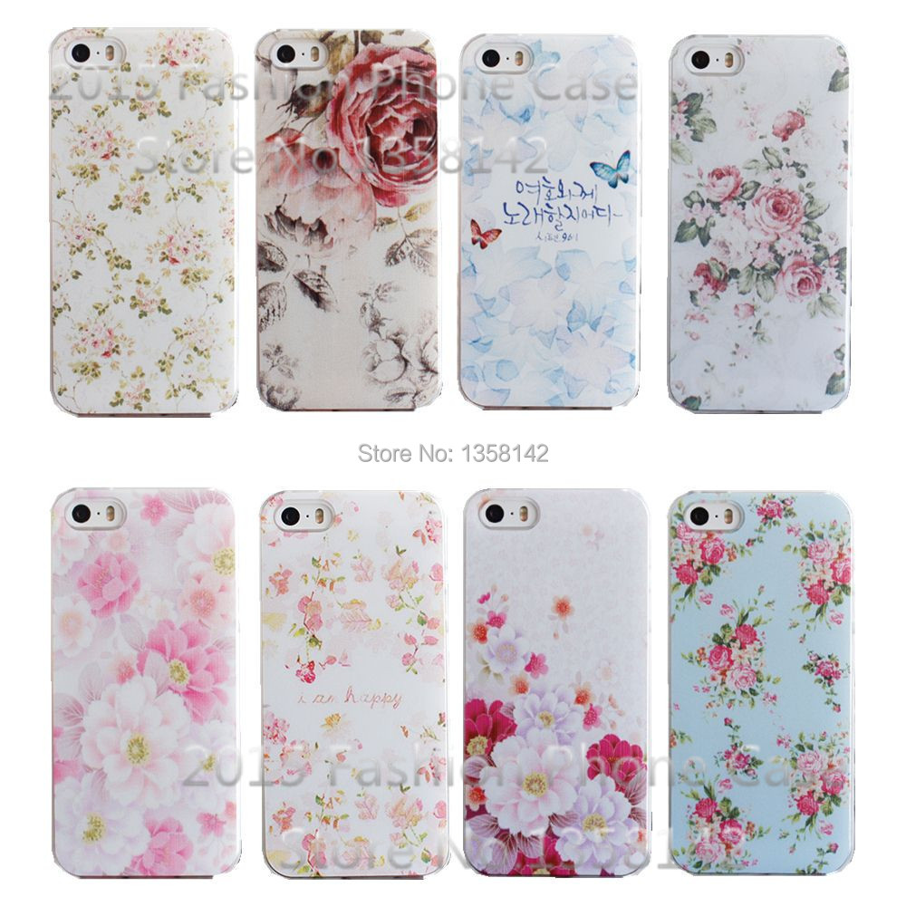 2015 New Arrive Flower 17 Design Painted Black Cover Case For Apple i Phone iPhone 5 5S 5G 1piece Free Shipping(China (Mainland))