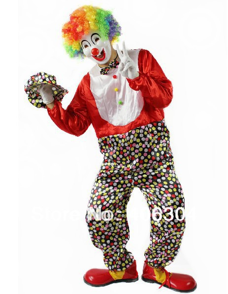 ,halloween adult Clown party Clothes including red dot clown costume mask gloves hat wig shoes - HH Party Costume Store store