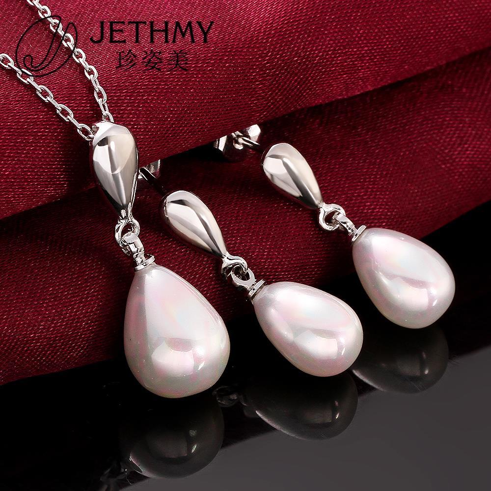 Brand fashion jewellery pearl set women 925 sterling silver pearls jewelry necklace set joyas oso bijoux+gift box(China (Mainland))