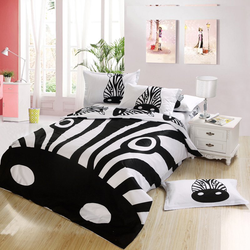 Black and white zebra print Kids cartoon bedding comforter bedroom sets king for queen full twin size bed sheets bedspread duvet(China (Mainland))