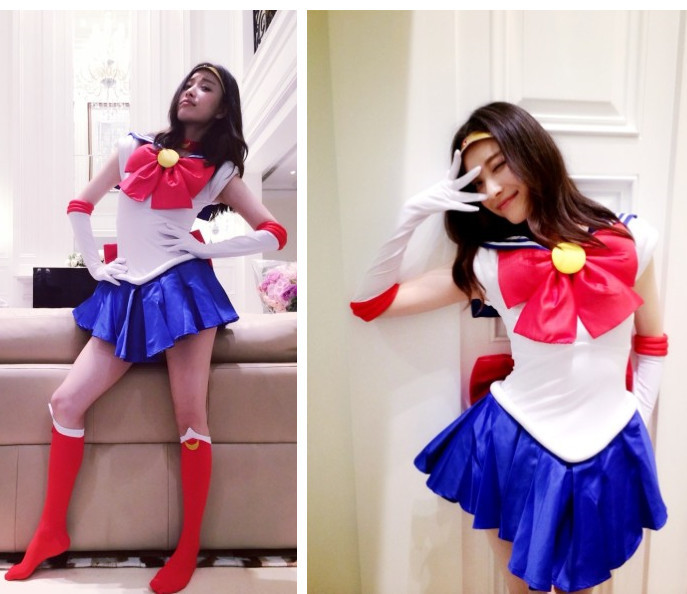 Anime Pretty Soldier Sailor Moon Cosplay Costume female halloween party Size,Customized accepted - Guangzhou sun Information Technology Co., Ltd. store