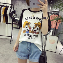Buy College Style Summer New Students Tops Funny Cartoon Letter Printed T-shirts Women Loose Hit Color Female T-shirt Harajuku M-2XL for $8.11 in AliExpress store