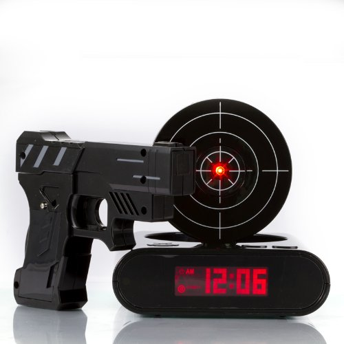 Black pistol shooting with infrared alarm clock Fast Shipping(China (Mainland))