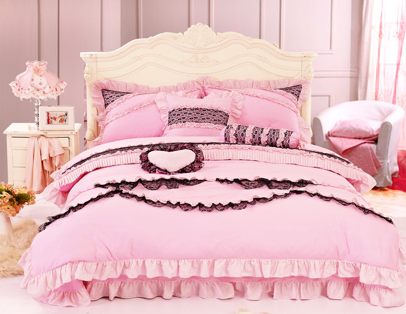 Full Queen Size Pink With Black Lace Border Girls Ruffled Frilly Bedding-in Bedding Sets From