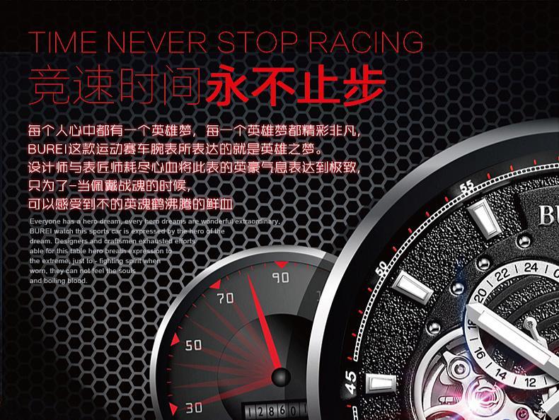 BUREI 15009 Switzerland watches men luxury Men's Luminous Automatic Movement Visible Stainless Steel Watch Black Link Bracelet