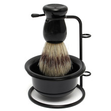 New Arrival Promotion Price Black Badger Hair Brush+Stainless Steel Shaving Razor Stand+Plastic Bowl Mug Set(China (Mainland))