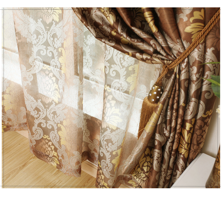 Free shipping printed design custom made European style sheer curtains tulle fabric for window(China (Mainland))