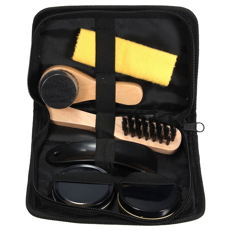 High Quality 6 Pieces Professional Shoe Care Tool Black & Neutral Shoe Shine Polish Cleaning Smooth Wooden Brushes Set(China (Mainland))
